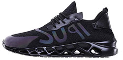 Men-Mesh-Letter-Solid-Elastic-Running-Sport-Flat-Ankle-Round-Toe-Casual-Shoes