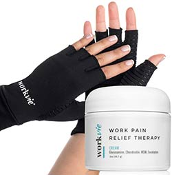 Workvie Pain Relief Cream and Copper Compression Gloves Set - Arthritis